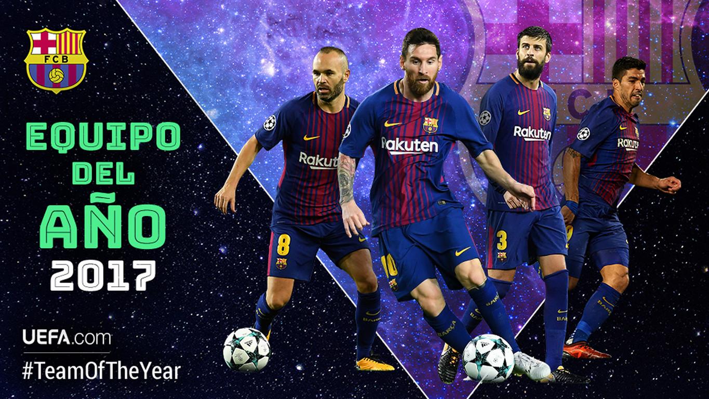 Piqué, Iniesta, Suárez i Messi estan entre els 50 candidats a formar el millor onze de l'any 2017 que es coneixerà el proper 11 de gener