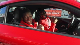 Barça players with their new Audi cars from inside