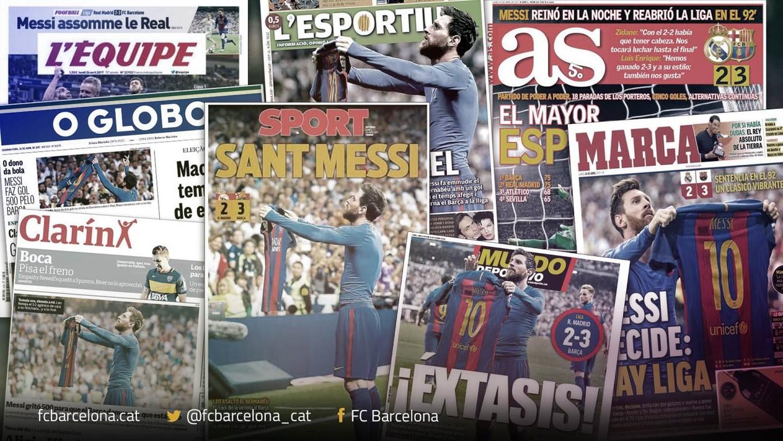 Els mitjans nacionals i internacionals destaquen l'actuació del crac argentí en la victòria blaugrana d'aquest diumenge al Santiago Bernabéu