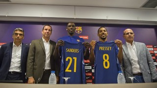 Sanders and Pressey's presentation as new FC Barcelona Lassa's players