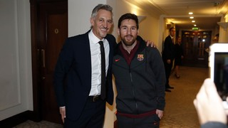 Leo Messi and Luis Suárez meet up with Gary Lineker in London