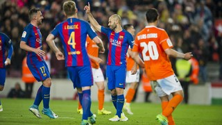 The Barça defender scores his first for the blaugranes from the penalty spot after 319 games