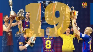After completing the 2017/18 season, Barça's professional teams have matched the amount of trophies that were won in 2011/12 and 2014/15