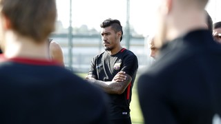 New FC Barcelona player Paulinho in his first session as a blaugrana
