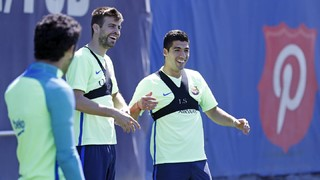 The first team plus Aleñá of Barça B straight back at the Ciutat Esportiva in a buoyant mood after the extraordinary events at the Clásico on Sunday night