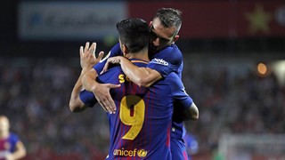 The blaugranes recorded a win thanks to own goals from Aday and Gorka and a strike from Luis Suárez on their first ever league visit to their Catalan neighbours