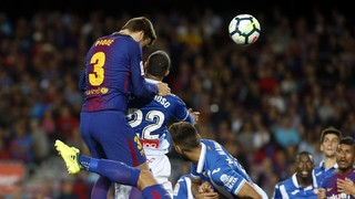 A video of all the goals that Piqué has scored against Espanyol