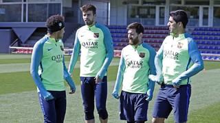 Els disponibles del primer equip s'han exercitat aquest divendres en l'entrenament previ al duel contra l'Espanyol, corresponent a la jornada 35 de Lliga