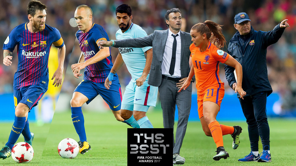 Six bar a players nominated for fifa the best award fc barcelona - The body shop barcelona ...