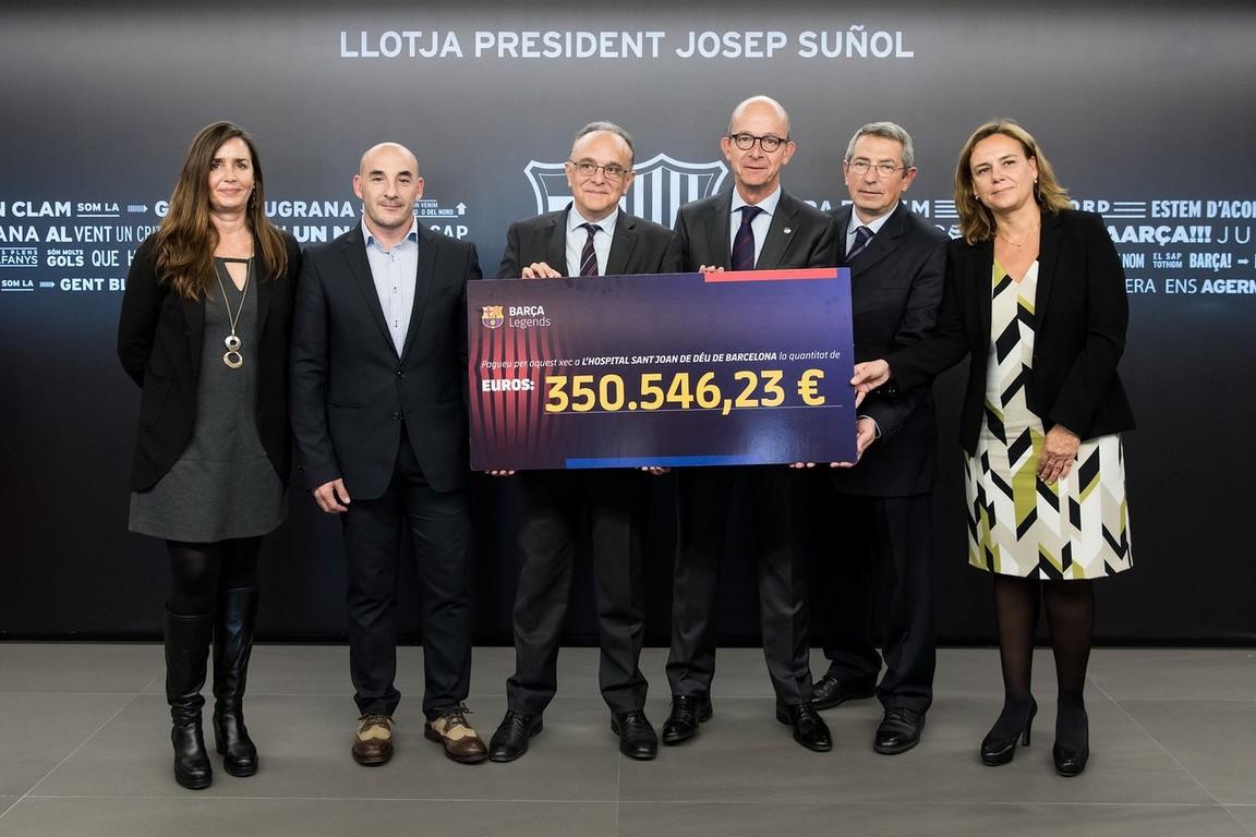 Aquest donatiu de més de 350.000€ és la recaptació final dels partits entre els equips de Legends del Barça i el Manchester United