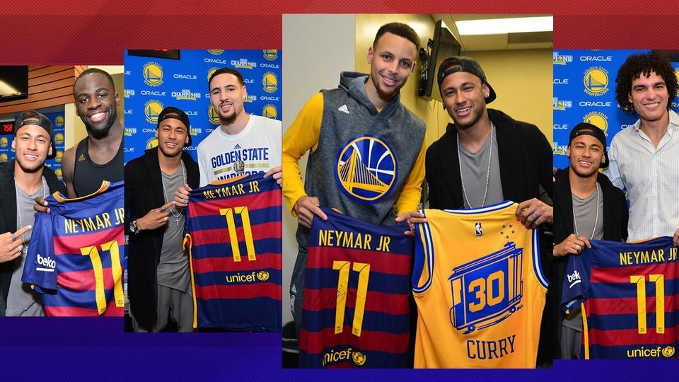 Fc barcelonas neymar jr attends the nba finals fc barcelona the brazilian gets to meet mvp stephen curry as well as his compatriots anderson varejao and leandrinho barbosa m4hsunfo