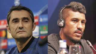 Barça manager and midfielder speak ahead of Wednesday's game with Olympiacos in the Champions League