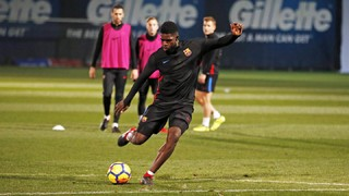 The Frenchman is issued medical clearance and will travel to Seville for Sunday's league fixture, while Philippe Coutinho joins his new team-mates for part of today's session