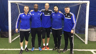 Xavi Moro and Jordi Martínez coordinated a football camp in Toronto for players from 7 to 16 years of age