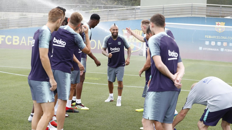 Arturo Vidal greeted by his new teammates.