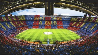 The mosaic at Camp Nou before FC Barcelona v Juventus