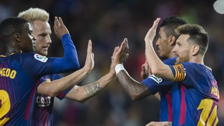 A 6-1 rout of Eibar at Camp Nou on Tuesday night means the first-place Catalans have scooped up all 15 points in play in La Liga this season
