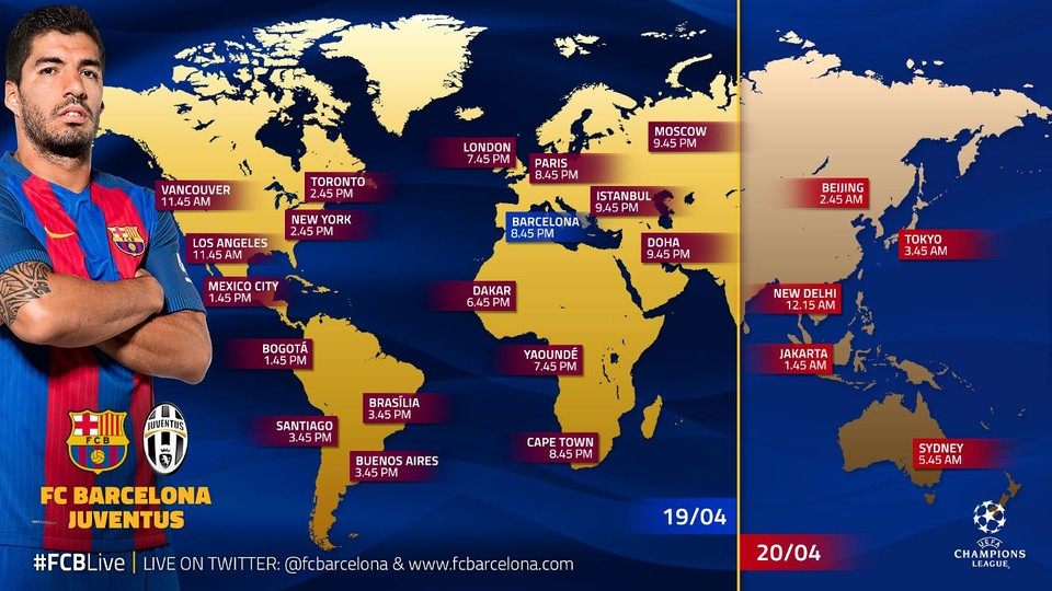 When And Where To Watch FC Barcelona V Juventus FC Barcelona - Juventus italy map
