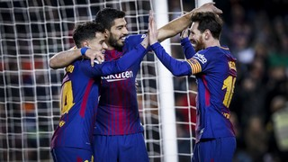 A hat-trick from Luis Suárez, two goals from Lionel Messi plus a Philippe Coutinho special help Barça to an exciting win over an opponent who took the lead and were always willing to get forward themselves