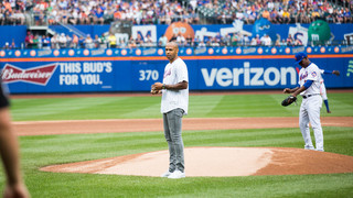 The former player was on hand at Sunday's ball game between the Mets and the Oakland Athletics at Citi Field