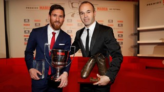 Messi & iniesta collected two awards at the 2016/17 Football Awards Gala