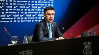 El presidente Josep Maria Bartomeu comparecerá en rueda de prensa en la sala de prensa Ricard Maxenchs del Camp Nou después de la reunión ordinaria de la Junta Directiva