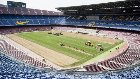 Camp Nou begins process of changing to hybrid grass playing surface