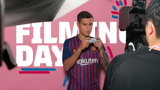 See how the FC Barcelona training facilities are converted into a shooting location for the club's videos with first team players