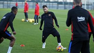 Últim entrenament abans del partit contra el Leganés
