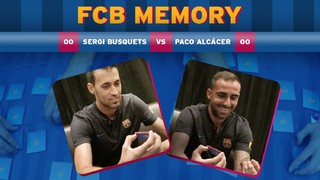 Sergio Busquets and Paco Alcácer compete to see who can win this fun game of Memory. Watch the video to find out who wins!