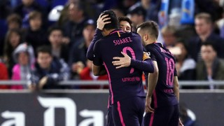 Catch all the action from Barça's win in the Catalan derby thanks to two goals from Luis Suárez and a strike from Ivan Rakitic