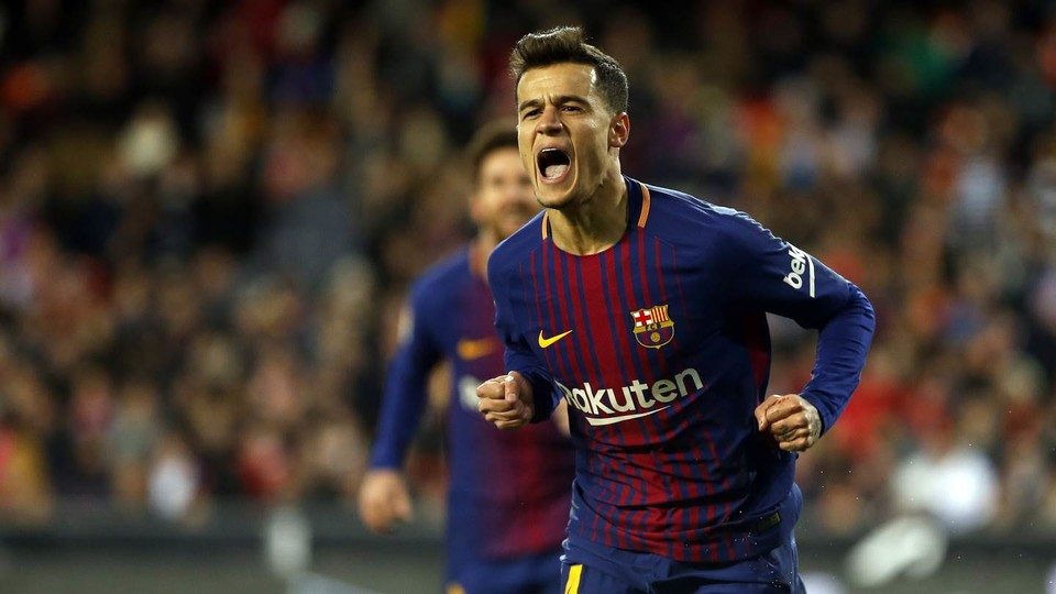 Coutinho celebrating his first ever goal in a Barça shirt