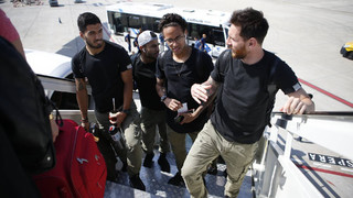 FC Barcelona arrive in Madrid