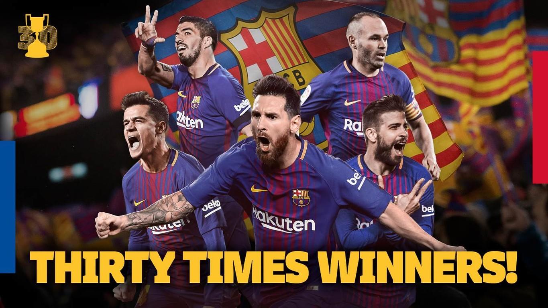 Les Catalans s'adjugent le 30ème trophée de leur histoire dans la compétition grâce à leur victoire contre Séville en finale (0-5)