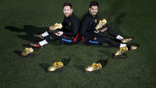 Leo Messi and Luis Suárez pose with combined six Golden Shoes!