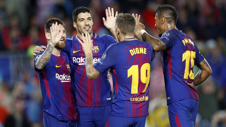 Los de Ernesto Valverde derrotan al conjunto griego en la tercera jornada de la Champions con un gol en propia portería de Nikolaou y las dianas de Messi y Digne
