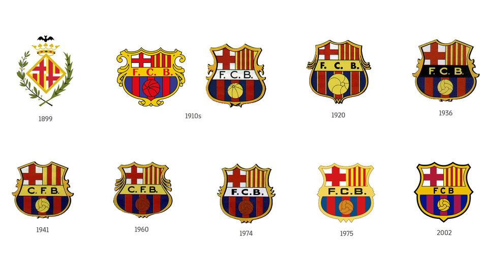 Así ha cambiado el escudo del FC Barcelona a través de la historia