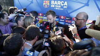 The Barça midfielder fielded questions from reporters ahead of Thursday afternoon's workout in Miami