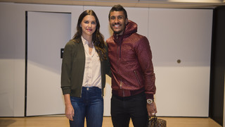 USWNT star Alex Morgan attends Barça–Deportivo at Camp Nou