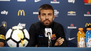 The centre back is joined by Javier Mascherano at a Washington press conference where both players express how much they would like the Brazilian to remain at the club