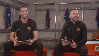 Face to face: Sergio Busquets and Jordi Alba