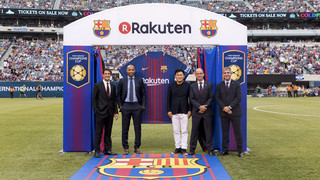 The FC Barcelona president and the founder and CEO of Rakuten appear at Barça's preseason opener, the team's first match wearing the new jersey bearing the new sponsor's logo