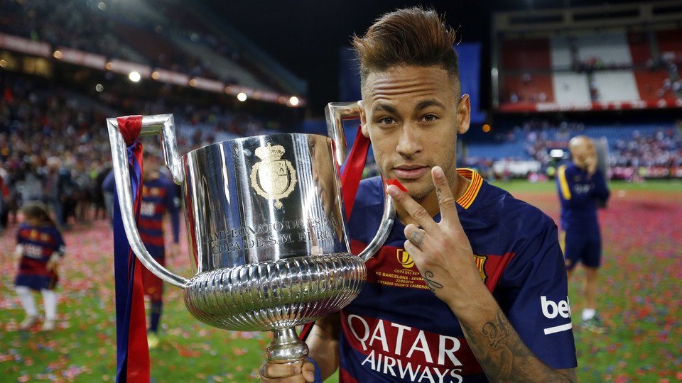 neymar jr thrilled by perfect double fc barcelona