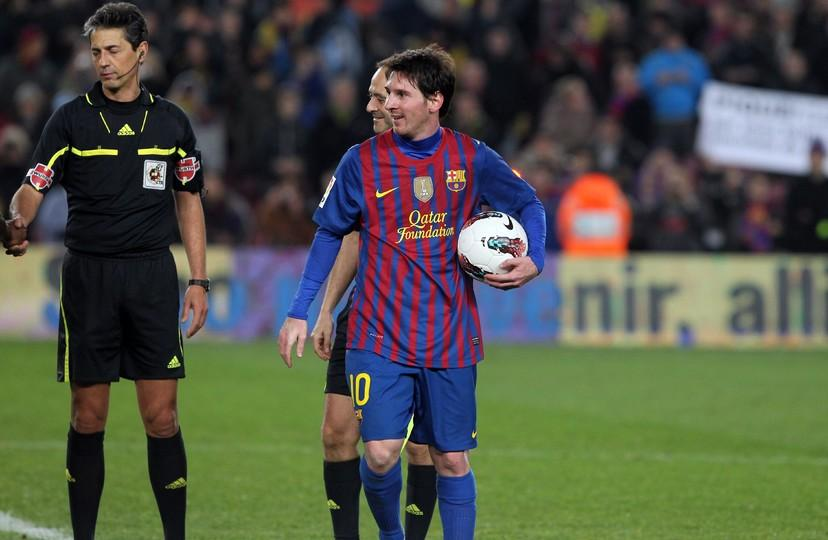 Messi Scored Four Of Barcas Five Goals Against Valencia On The Day He Played His Th Game For Fc Barcelona Its The Second Time The Argentine Has Scored
