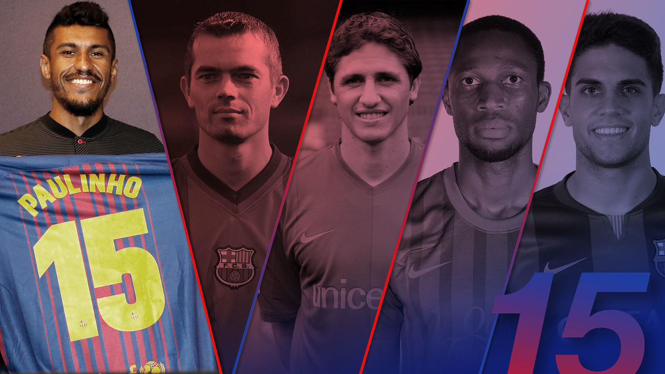 Paulinho will be the eighth Barça player to wear the number 15 shirt, which wasn't in use last season