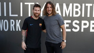Lionel Messi and Carles Puyol, a reunion of legends
