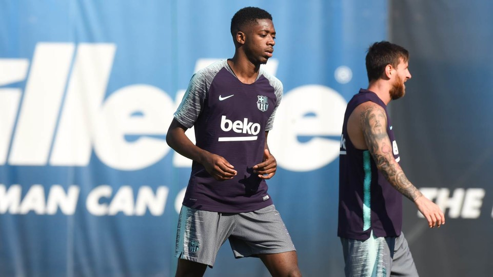 Dembélé, during training at the Ciutat Esportiva
