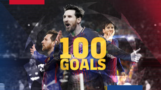 Leo Messi reaches 100 goals in the Champions League