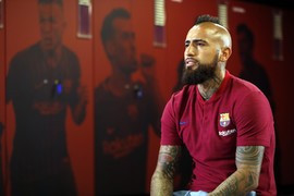The Chilean player reflects on different aspects of his life in an interview conducted in the Barça dressing room