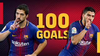 100 goals in the league for Luis Suárez